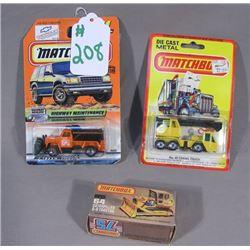 THREE MATCH BOX 1:64 SCALE DIE CAST CARS
