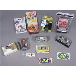 BOX LOT OF MISC. DIE CAST RACING CARS AND MEMORABILIA