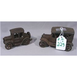 TWO VINTAGE CAST IRON CARS