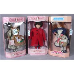 3 VINTAGE COLLECTIBLE MEMORIES PORCELAIN GIRL DOLLS