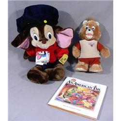 TWO STUFFED ANIMALS & BOOK