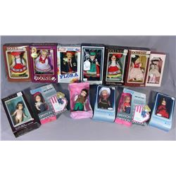 """THIRTEEN FOREIGN 8"""" DOLLS IN BOXES"""