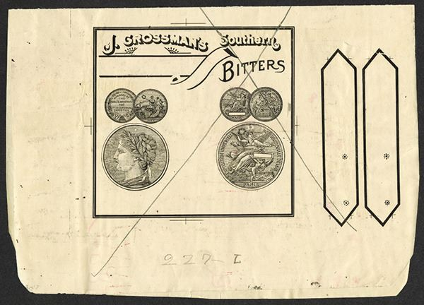 J  Grossman's Southern Aromatic Cocktail Bitters, ca 1890's Litho Proof  Sheet