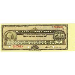 Wells Fargo & Co  19xx (ca 1900) Specimen Traveler's Check