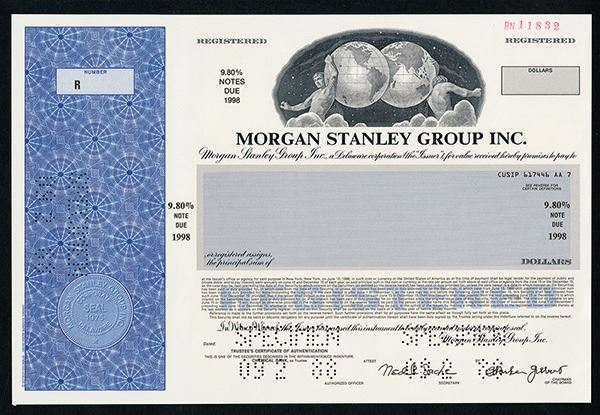 Morgan Stanley Group Inc  1988 Specimen Stock Certificate