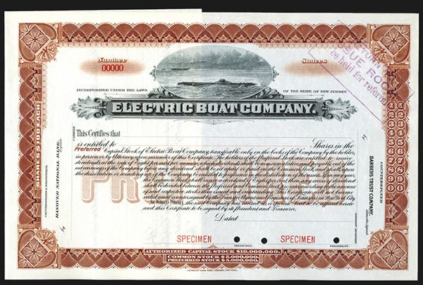 Electric Boat Co , ND ca 1900-20's Specimen Stock Certificate