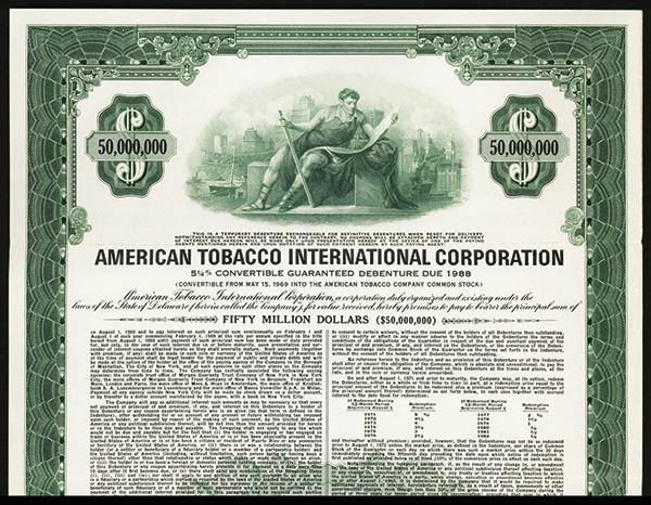 American Tobacco International Corp  1968 Specimen Bond