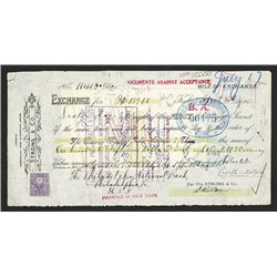 Strong & Co., Payable to the  Charter Bank of India, Australia & China, 1925 Kobe, Japan Bill of Exc