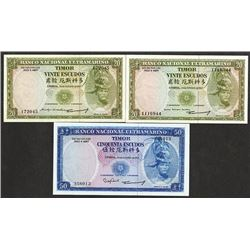Timor Banco Nacional Ultramarino 24.10.1967 Bank Note Group of 3 Issue