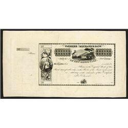 Farmers and Mechanics Bank of New Brunswick, ca. 1830's Proof Stock Certificate.