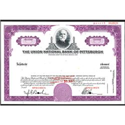Union National Bank of Pittsburgh, ca.1950-1960 Specimen Stock.