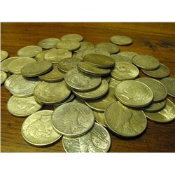Lot of 50 Peace Silver Dollars