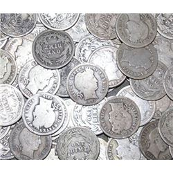 LOT OF 100 BARBER DIMES- CIRCULATED