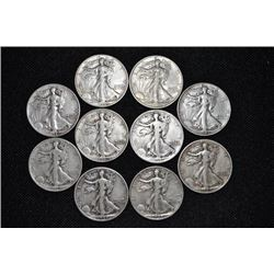 LOT OF 10 WALKING LIBERTY HALVES