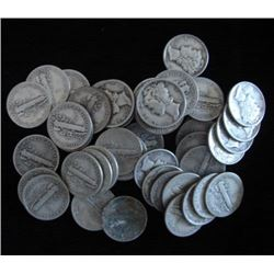 Lot of 100 Mercury Dimes- Circulated-