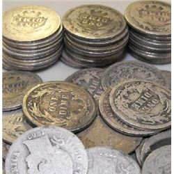 Lot of 70 Barber Dimes- Circulated-
