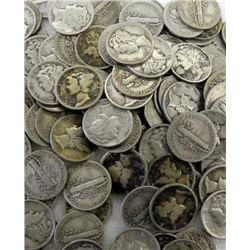 Lot of 90 Assorted Mercury Dimes- Various-