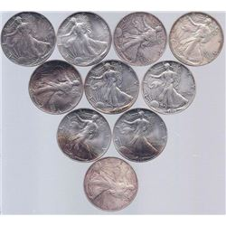 (10) Assorted Date Silver Eagles