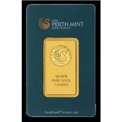 1 oz. Pamp/Perth or Credit  Suisse Ingot on card