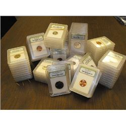 Lot of 100 Slabbed MS 60 PLUS Coins