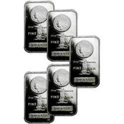 (5) Morgan Design Silver Bars - 1 oz. Each
