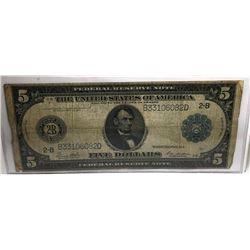1914 $ 5 Lincoln FRN Fine Grade