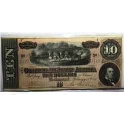 1864 $ 10 Confederate Currency Civil War CU Grade