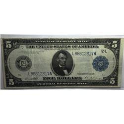 1914 AU/CU $5 FRN LINCOLN Currency