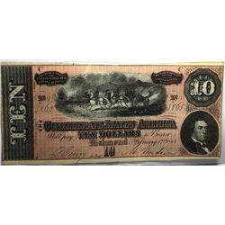1864 High Grade AU Plus $ 10 Confederate Currency
