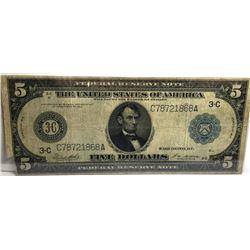 1914 $ 5 LINCOLN FRN VG