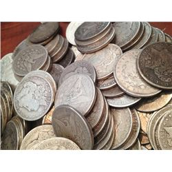Lot of 100 Assorted Date & Grade Morgan Dollars
