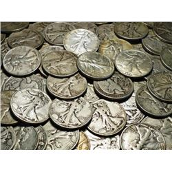 Lot of (50) Walking Liberty Half Dollars