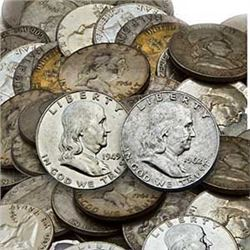 Lot of 50 Franklin Half Dollars 90% Silver