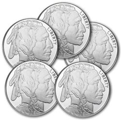 Lot of (5) 1 oz Buffalo Silver Rounds Pure .999