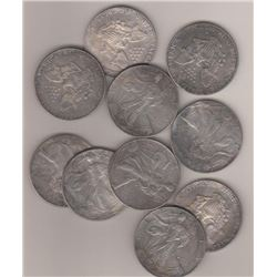 Lot of (10) Random Date US Silver Eagles