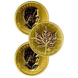 (3) 1 oz Canadian Maple Leaf  Random Years