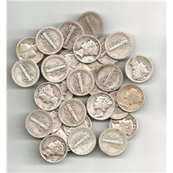 50 pcs. Mercury Dimes 90% Silver Mixed Dates