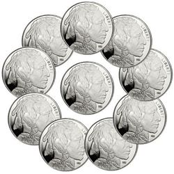 Lot of 10 Buffalo 1 oz Silver Rounds