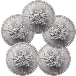 Lot of 5 Canadian Silver Maple Leaf's Random years
