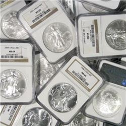 Lot of (10) MS 69 US SIlver Eagles NGC, PCGS, IGA