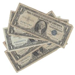 5 Circulated Silver Certificates - As shown