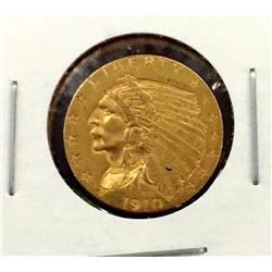 1910 $ 2.5 Gold Indian
