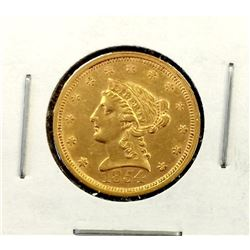 1854 Better Date $ 2.5 Gold Liberty