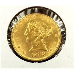 1906 $ 5 Gold Liberty