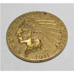 1911 P $5 Gold Indian