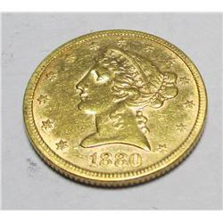 1880 P $ 5 Gold Liberty