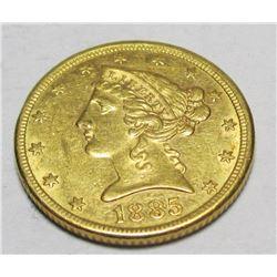 1885 p $ 5 Gold Liberty