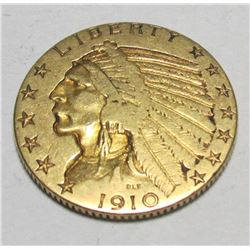 1910 P $ 5 Gold Indian