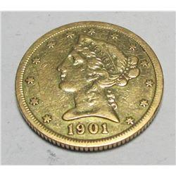 1901 s $ 5 Gold Liberty