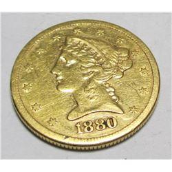 1880 s $ 5 Gold Liberty